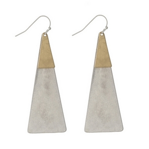 """Silver tone fishhook earrings with two tone triangle shapes. Approximately 3"""" in length."""