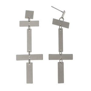 """Silver tone stud earrings with rectangle shapes. Approximately 3"""" in length."""