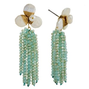 """Post earring with pearl cluster and faceted bead tassel. Approximately 2.5"""" in length."""