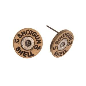 "Two Tone Shotgun Shell Stud Earrings.  - Approximately .5"" in Diameter"