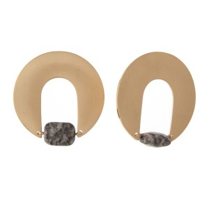 """Gold tone statement earring with natural stone detail. Approximately 2"""" in length."""