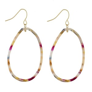 """Dainty acetate oval earrings. Approximately 2"""" in length."""