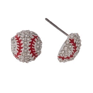 """Baseball stud earrings with rhinestones. Approximately 1/2"""" in length."""