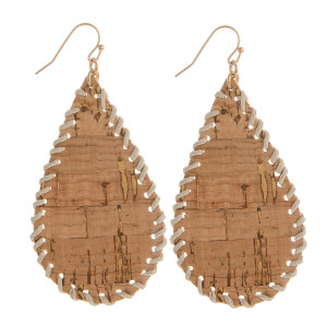 Long fishhook drop cork earrings with leather outline. Approximate 2.5 in length.