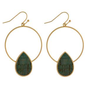 "Metal hoop earring with cork teardrop shape. Approximately 1.75"" in length."