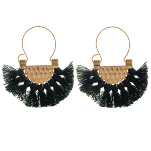 Short fanned tasseled earring. Approximate 1.5 in diameter.