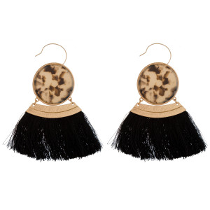 "Gold tone fishhook earring with acetate circle and soft thread tassel. Approximately 3"" in length."