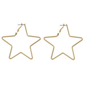 "Long metal star shaped earrings. Approximate 2.5"" in length."