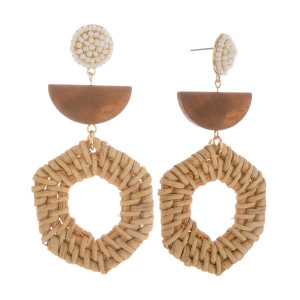 "Long wood earring with beaded stud. Approximate 2.5"" in length."