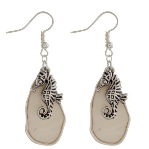 """Fishhook Mother of Pearl earrings with seahorse charms. Approximately 2"""" in length."""
