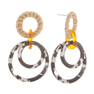 """Long layered wood/ resin earring. Approximate 2.5"""" in length."""
