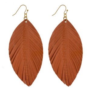 "Genuine leather feather inspired drop earrings. Approximately 3"" in length."