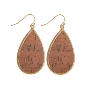 "Cork inspired teardrop earrings. Approximately 2"" in length."