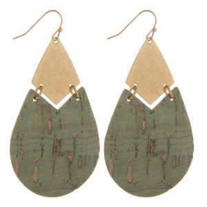 "Long cork drop earrings with metal detail. Approximate 2.5"" in length."