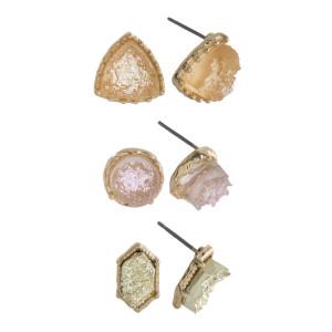 Druzy Stone Stud Earring Set.  - 3 Pair Per Set - Approximately 4mm in Diameter