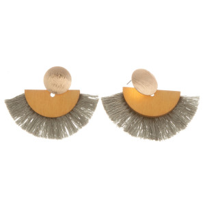 "Short earrings with gold metal posts, wood details, and soft tassels. Approximately 1"" in length."