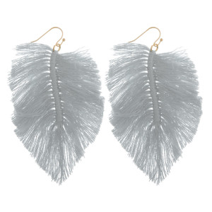 "Long feather fish hook earrings. Approximate 3.5"" in length."