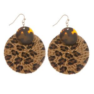 """Long hoop animal print earrings. Approximate 2.5"""" in length."""