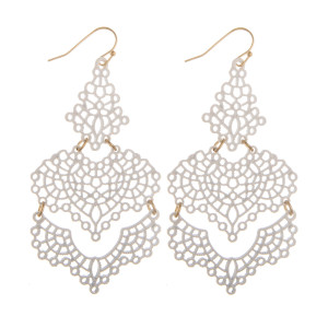 """Long drop earring with filigree detail. Approximate 2.5"""" in length."""