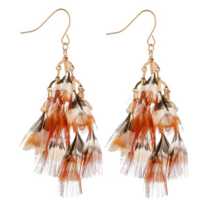 "Long fishhook feather earrings. Approximate 2.5"" in length."