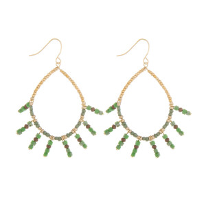 """Short drop beaded earrings with bead tassels. Approximately 1.5"""" in length."""