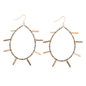 "Long drop beaded hoop earrings with bead tassels. Approximately 3"" in length."