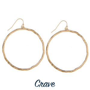 """Hammered circle dangle earrings. Approximately 1.75"""" in diameter."""