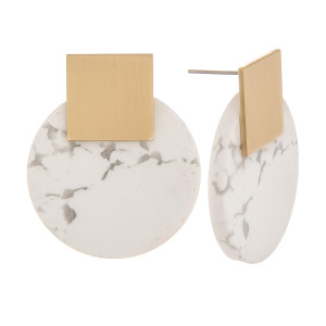 """Natural stone solid hoop earrings with gold post. Approximate 1"""" in length."""