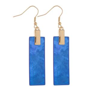 "Long fish-hook bar acetate earrings. Approximate 2.5"" in length."