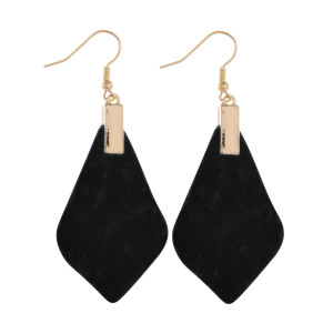 "Long fish-hook acetate earrings. Approximate 2.5"" in length."