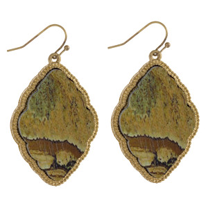"Long wooden earring with metal trim and natural stone print. Approximately 2"" in length."