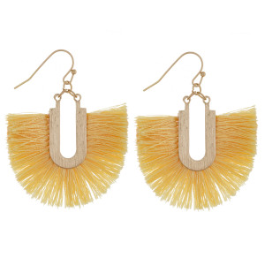 """Gold tone fishhook earring with fanned tassel. Approximately 1.5"""" in length."""