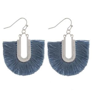 "Silver tone fishhook earring with fanned tassel. Approximately 1.5"" in length."