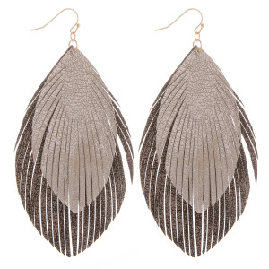 """Long layered leather double feathered earrings. Approximate 4"""" in length."""
