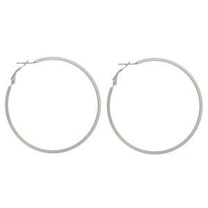 """Large matte hoop earrings. Approximately 2.5"""" in diameter."""