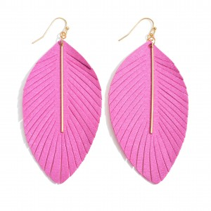 """Long feather fabric inspired earrings featuring a metal bar accent. Approximately 3"""" in length."""