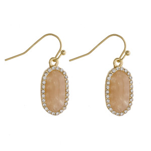 """Dainty metal drop earrings featuring a natural stone accent and cubic zirconia details. Approximately .75"""" in length."""