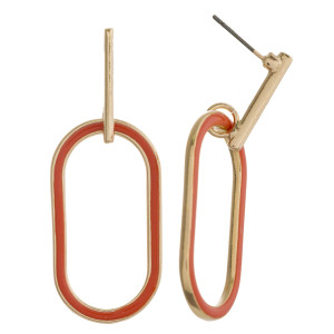 """Long metal earrings featuring double sided acrylic colored details with a gold bar accent and stud post. Approximately 2"""" in length."""