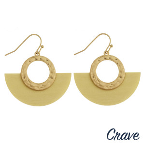 """Half circular drop earrings featuring ivory wood detail and gold metal accent. Approximately 1"""" in length."""