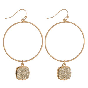 """Circular metal earrings featuring a druzy accent. Approximately 2.5"""" in length."""
