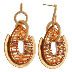 """Metal drop earrings featuring a faux leather teardrop detail with chain link accents and a stud post. Approximately 2"""" in length."""