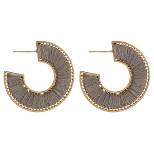 """Thread wrapped open hoop earrings featuring a stud post. Approximately 1"""" in diameter."""