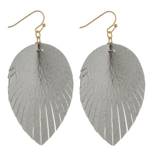 """Faux leather feather inspired drop earrings. Approximately 2.5"""" in length."""