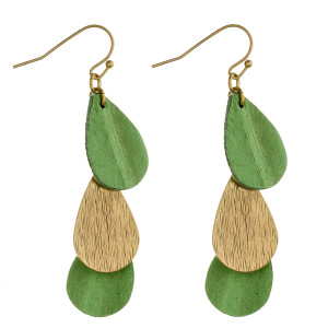 """Long drop earrings featuring trio genuine leather and metal inspired teardrop accents. Approximately 2"""" in length."""