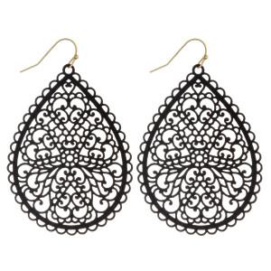 "Long filigree inspired teardrop earrings. Approximately 3"" in length"