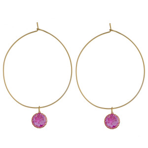 """Dainty gold hoop earrings featuring rhinestone accents. Approximately 2.5"""" in length."""