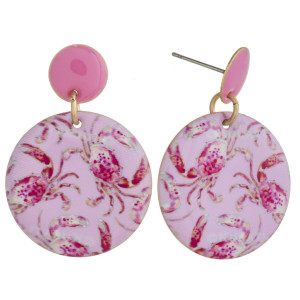 """Metal disc earrings featuring crab print enamel details. Approximately 1"""" in length."""