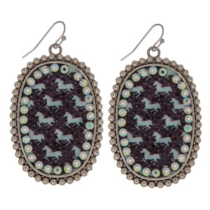 """Metal drop earrings featuring a faux leather western horse print center detail with rhinestone accents. Approximately 2.5"""" in length."""