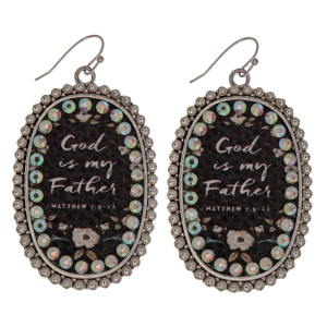 """Metal drop earrings featuring """"God is my Father"""" faux leather center detail with rhinestone accents. Approximately 2.5"""" in length."""