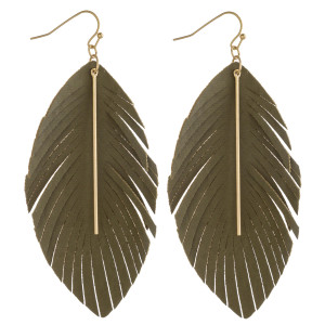 """Faux leather feather inspired earrings featuring a gold bar accent. Approximately 3.5"""" in length."""